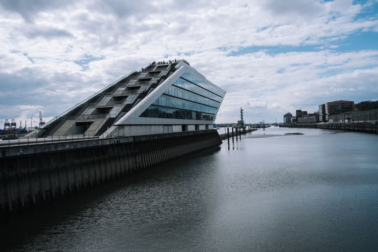 Hamburg Architecture Building Exterior Built Structure City Cityscape Cloud - Sky Connection Day Dockland Hamburg Hamburg Harbour Modern No People Outdoors Sky Travel Destinations Water Waterfront