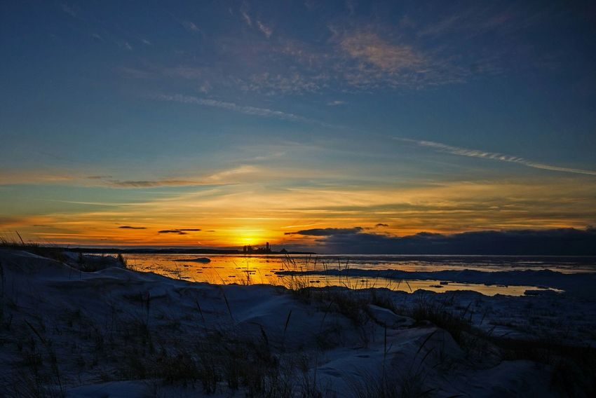 Winter Sunset Michigan Lake Michigan Charlevoix, Ice, Sky, Winter, Cold, Blue Sky Icy Water Ice Age