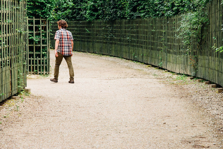 Full Length Rear View Of Man Walking On Footpath In Park