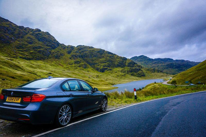 BMW F30 in the wild F30club Scotland Bmw F30 Car Mountain Cloud - Sky Road Trip Beauty In Nature