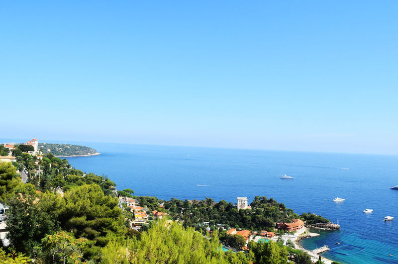 Beautiful angle view of sea against blue sky Architecture Beauty In Nature Boat Boats Boats And Water City Cityscape Clear Sky Day Europe High Angle View Holiday Horizon Over Water Monaco Monte Carlo Morning Nature No People Outdoors Scenics Sea Sky Tree View Water