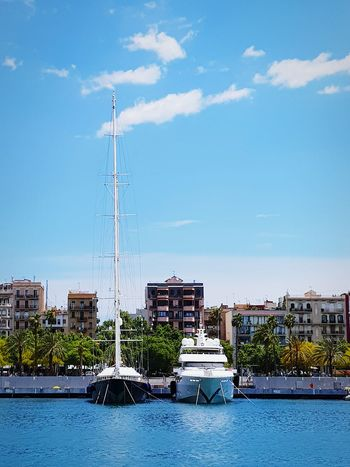Nautical Vessel Day Outdoors Water No People Sky Blue City Barcelona, SpainCloud - Sky Tourism Travel Destinations Photography Photo Sea Vacations Travel City