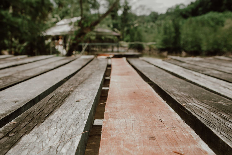 Surface level of wooden bench on footpath