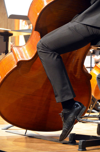 Low Section Of Musician Playing Double Bass