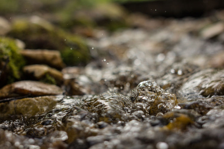 Surface level of rocks in river