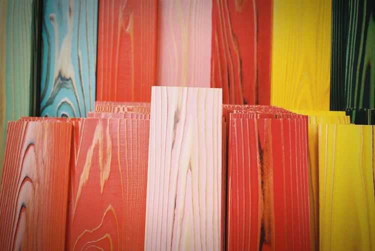 Full frame shot of multi colored painted wooden planks