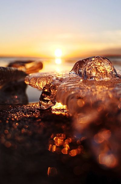 Sunrise Sunset Nature Beauty In Nature Sun Water Reflection Sky Cold Temperature No People Shiny Sea Ice Close-up Outdoors Freshness Glacier Day Animal Shapes Michigan EyeEm Best Shots EyeEm Nature Lover EyeEm Sunrise