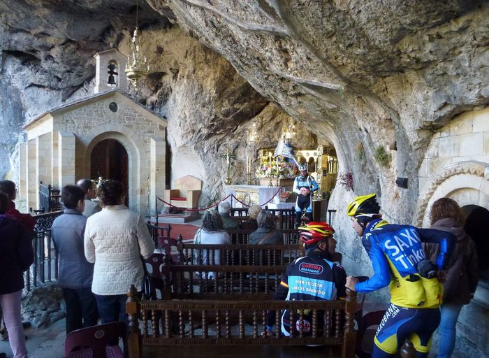 Architecture Bike In The Church Built Structure Church In The Mountains Day Indoors  Leisure Activity Men Mother Maria In The Mountain Mountain Chapel People Real People Stone Chapel Women