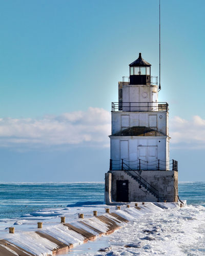 Winter Lighthouse Architecture Beach Beauty In Nature Building Exterior Built Structure Cloud - Sky Day Horizon Over Water Lighthouse Nature No People Outdoors Scenics Sea Sky Water Water Tower - Storage Tank