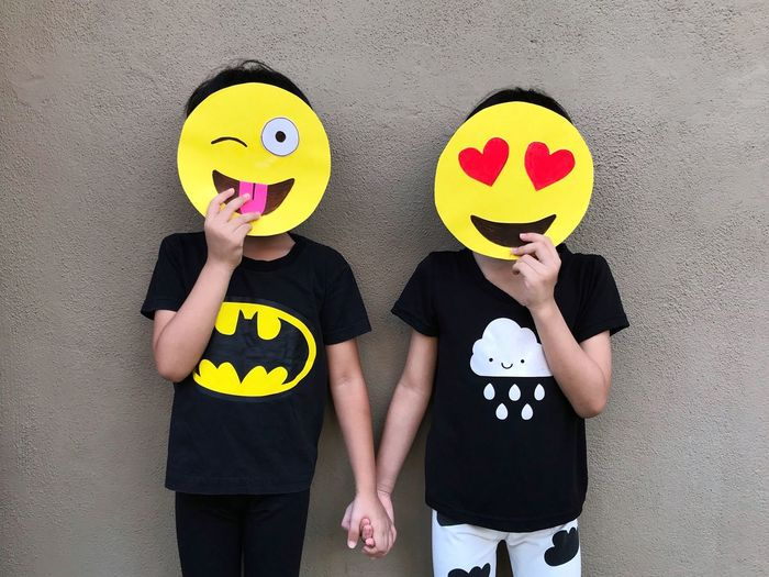 Paint The Town Yellow Emoji Kids Two People Anthropomorphic Smiley Face Togetherness Happiness Fun Humor Yellow The Week On EyeEm