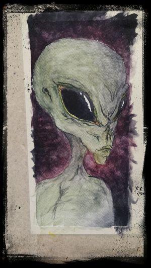 Grey Alien Watercolour