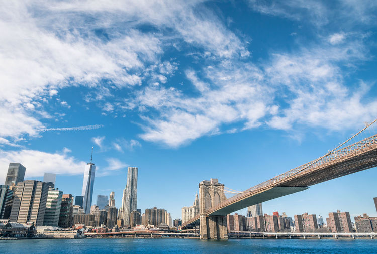 New York City Skyline and Brooklyn Bridge from the side of Hudson river - United States world famous capital New York New York City New York ❤ Downtown Manhattan United States USA American Panorama City Newport Hudson River Brooklyn Brooklyn Bridge / New York Brooklyn Bridge  Skyline Sky Metropolis New Jersey NYC NYC Photography Us Skyscrapers Buildings Urban Architecture Newyork Trip Travel Travel Destinations Water View WTC Cityscape River Postcard Panoramic