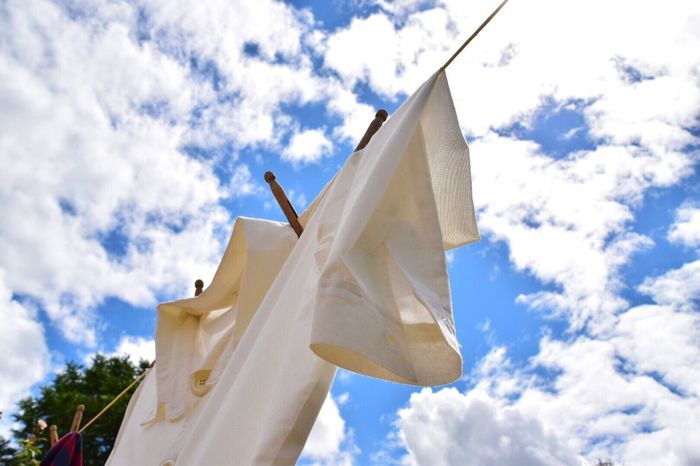 Cloud - Sky Low Angle View Sky Washing Line Washing Shirt White Shirt On Line Blue White Washing Day Wooden Peg Day No People Outdoors Building Exterior