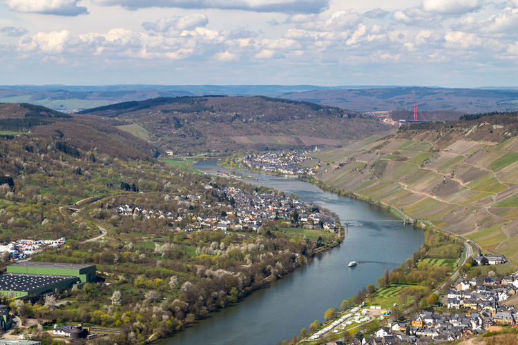 Panoramic view on the valley of the river moselle and the city bernkastel-kues