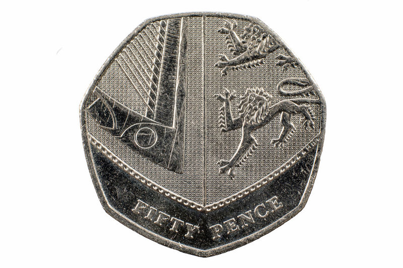 Close up image of a UK fifty pence coin United Kingdom Close-up Currency Cut Out Fifty No People Paper Currency Pence Shield Single Object Uk White Background