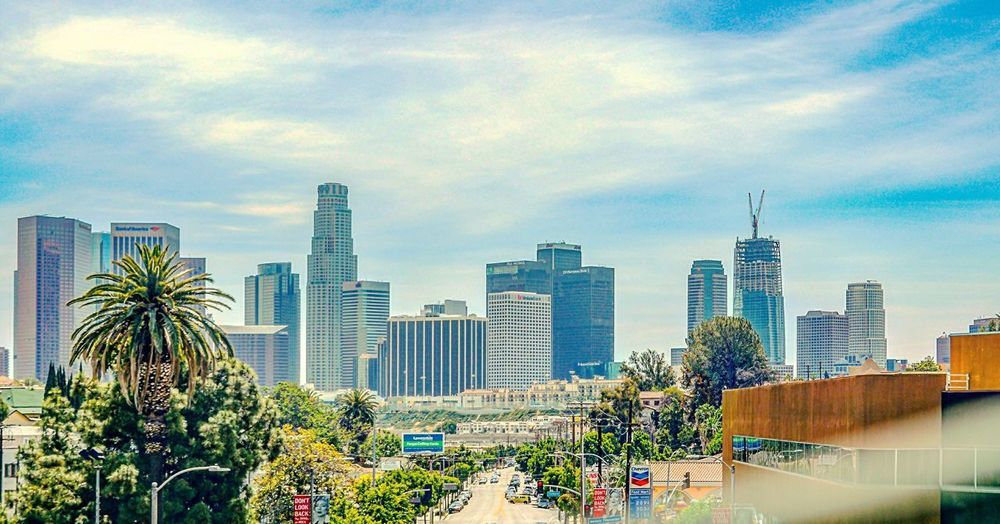 DOWNTOWN L.A. Moving Car Building Exterior Architecture Built Structure City Sky Building Stories From The City Office Building Exterior Tree Cityscape Urban Skyline Cloud - Sky Nature Day Plant Landscape Residential District Skyscraper No People Modern Tall - High
