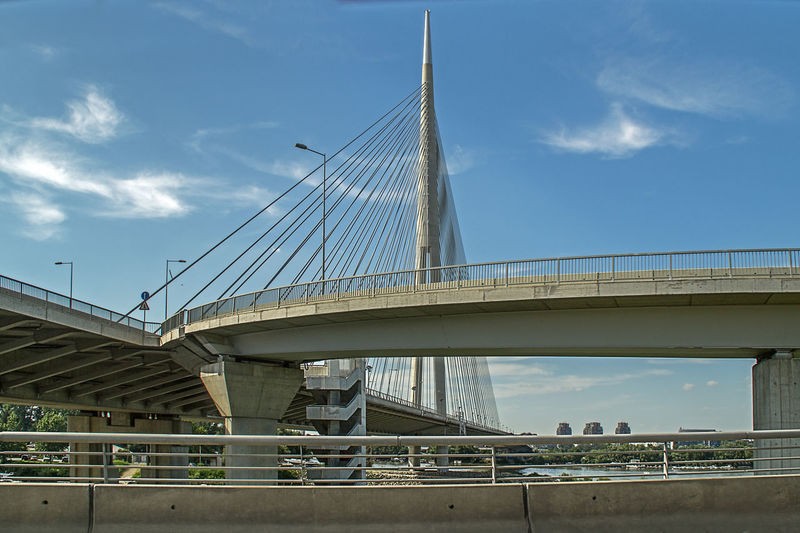 Ada Bridge (Most na Adi) is a cable-stayed bridge over the Sava river in Belgrade, Serbia. The bridge pylon is 200 meter high, located on the tip of the island. Modern Pylon Architecture Bridge Bridge - Man Made Structure Built Structure Cable-stayed Bridge City Cloud - Sky Connection Day Engineering Low Angle View Road Sky Suspension Bridge Transportation Travel Destinations