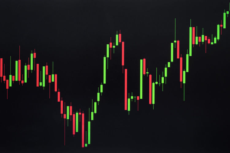 Stock or Forex Graph or Candlestick Chart on Black Screen Candlestick Stock Graph Abstract Black Background Business Candlestick Chart Chart Charts Close-up Diagram Finance Financial Financial Item Forex Forex Graph Forextrading Glowing Graph Green Color Growth Illuminated Multi Colored Stock Studio Shot Technology