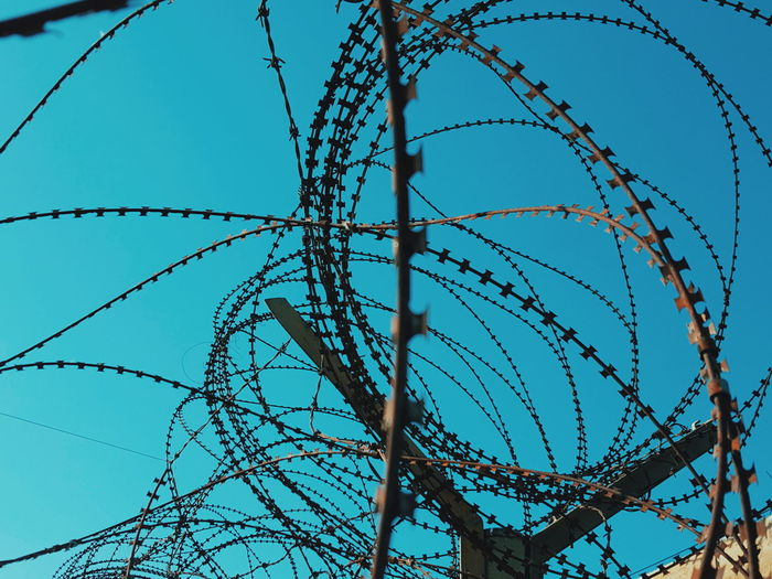Close-up of spiral razor wire fence