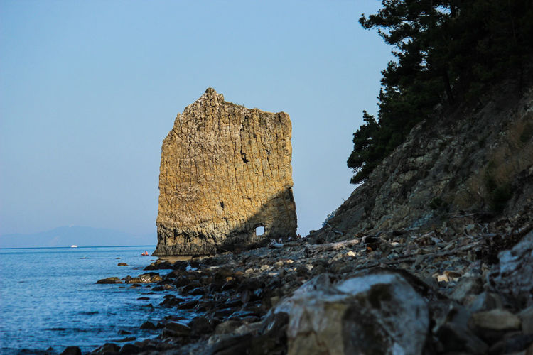 Black Sea. Rock sail, a geological monument of nature. Rock Sky Water Rock - Object Sea Solid Clear Sky Nature Tranquility Beauty In Nature Tranquil Scene Scenics - Nature Rock Formation Land No People Day Blue Non-urban Scene Outdoors Stack Rock Eroded Blacksea Geological Monument Of Nature Monument