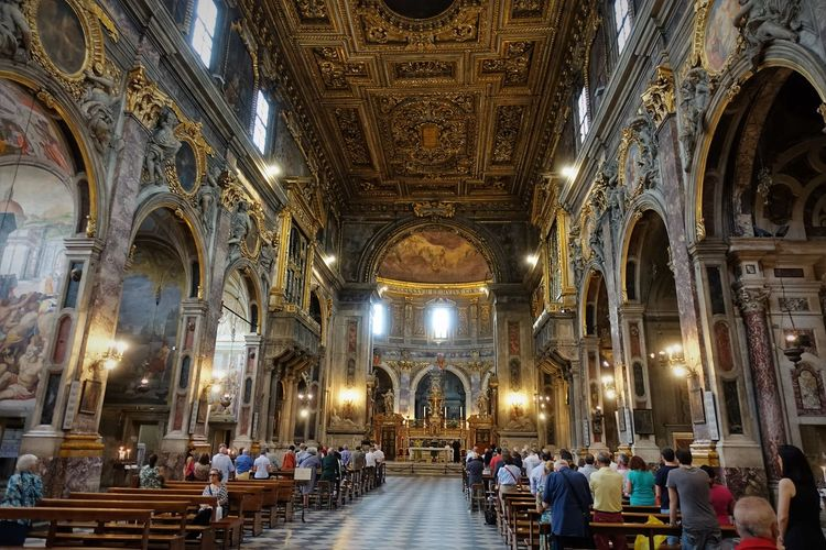 Santissima Annunziata Architecture Basilica Of The Most Holy Annunciation Catholic Church Day Group Of People Indoors  People Pew Place Of Worship Religion Spirituality Travel Destinations