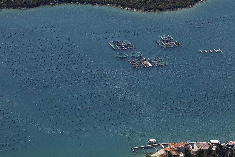 Mariculture on peljesac peninsula,adriatic sea, croatia