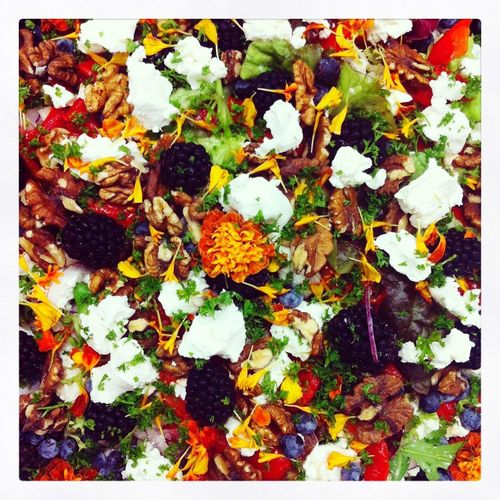 Autumn salad with flowers... Autumn Colors Food Colours Of Nature Eatable Flowers Vegetarian Food Bistroagogo Salad Colourful Salad