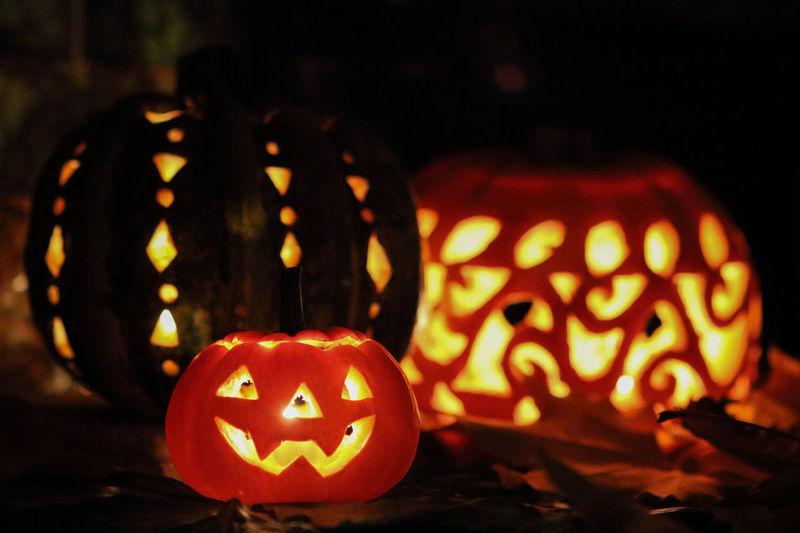 Close-up of illuminated halloween pumpkin at night