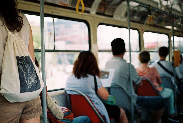 People traveling in tram