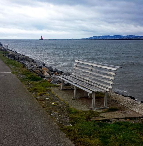 Bench Calm Cloud - Sky Horizon Over Water No People Outdoors Remote Scenics Sea Shore Tranquility