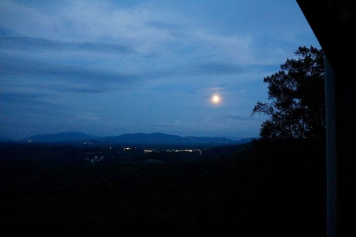 Harvest Moon Sky Night Moon Scenics - Nature Nature Silhouette Tree Beauty In Nature No People Tranquil Scene Tranquility Plant Cloud - Sky Idyllic Outdoors Illuminated Dark Dusk Space Mountain