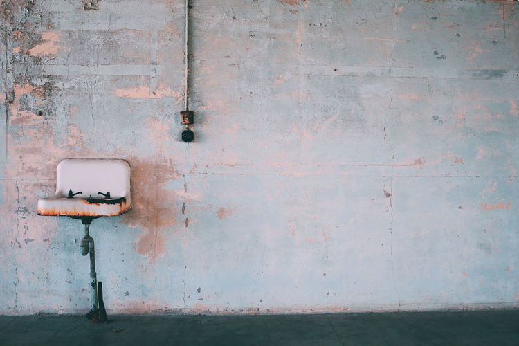 Old sink on wall