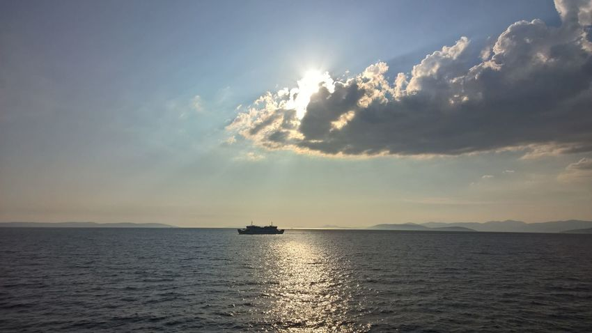 Beauty In Nature Cloud - Sky Day Horizon Over Water Nature Nautical Vessel No People Outdoors Sailing Scenics Sea Sky Sun Sunbeam Sunlight Sunset Tranquility Transportation Water Waterfront