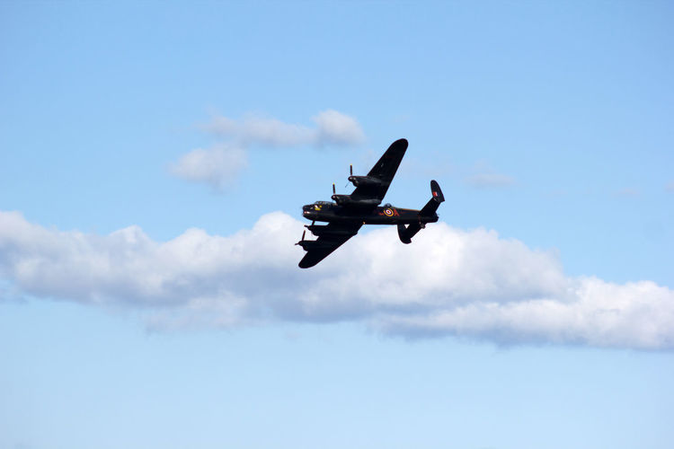 Lancaster bomber Aerobatics Aerospace Industry Air Force Air Vehicle Airplane Airshow Cloud - Sky Day Fighter Plane Flying Lancaster Bomber Low Angle View Mid-air Military Military Airplane Mode Of Transport Motion Nature No People Outdoors Sky Transportation