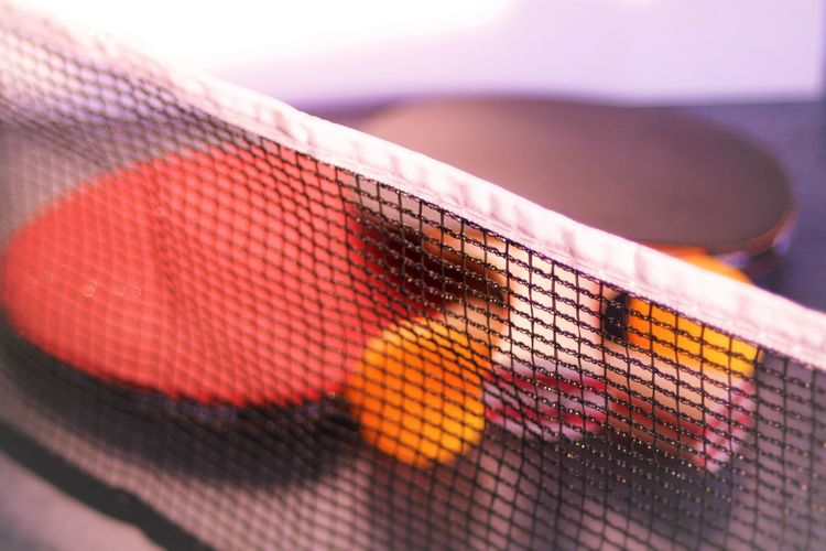 Close-up of sports equipment on table