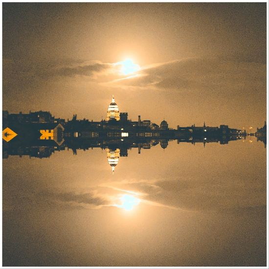 Water Sky Reflection Sunset Nature Auto Post Production Filter Architecture Beauty In Nature Scenics - Nature Tranquility Outdoors No People City Built Structure Cloud - Sky Sun Building Exterior Transfer Print Symmetry Sunlight