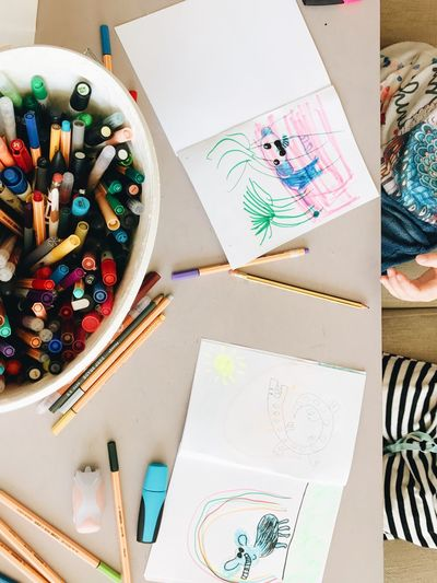 Drawing - Art Product Art And Craft Colored Pencil Creativity Multi Colored Table Drawing - Activity Sketch Pencil Indoors  Variation Crayon High Angle View Drawing Desk Sketch Pad Large Group Of Objects No People Palette Close-up