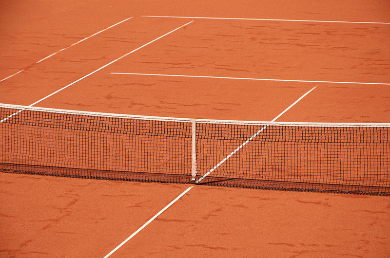 Close-up of a net of an outdoor tennis court
