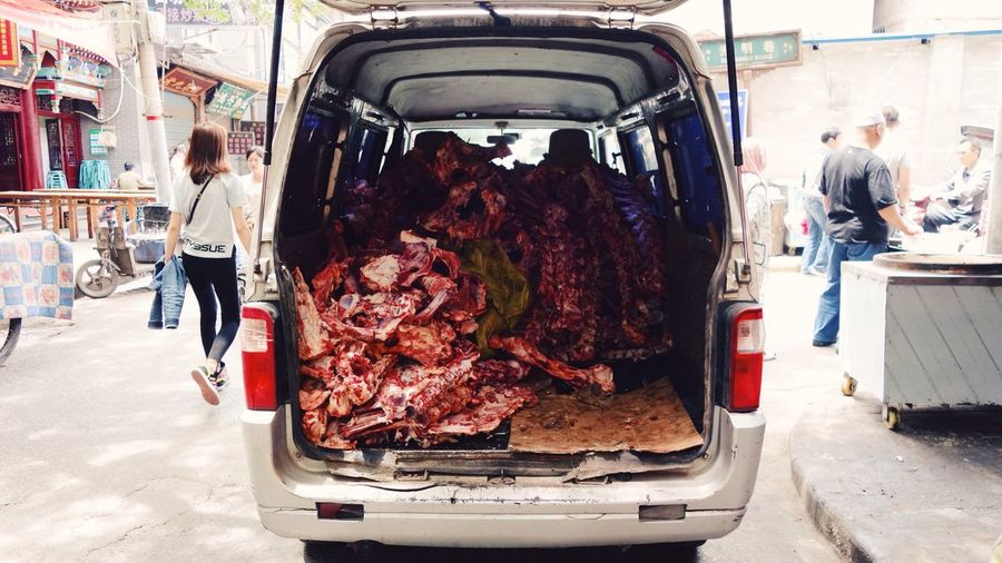 Stack Of Meat In Vehicle