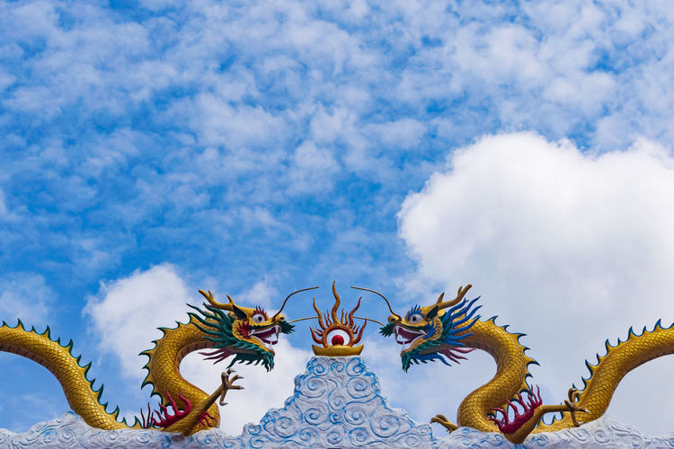 Backgrounds Cloud - Sky Close-up Colors Colorful Cloud Still Life Temple Outdoors Buddhist Blue Sky Freshness Chinese Dragon Dragon Sculpture Statue Chinese New Year Astrology Sign Multi Colored Cultures Art And Craft Animal Imitation Fictional Character Mythology Goddess Craft Demon - Fictional Character Angel Costume Wing Halo
