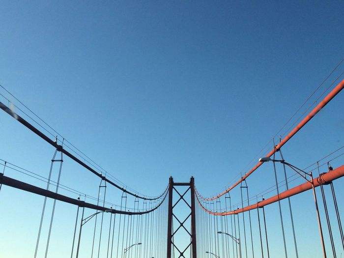 Clear Sky Connection Blue Bridge - Man Made Structure Transportation Architecture High Section Steel Cable Low Angle View