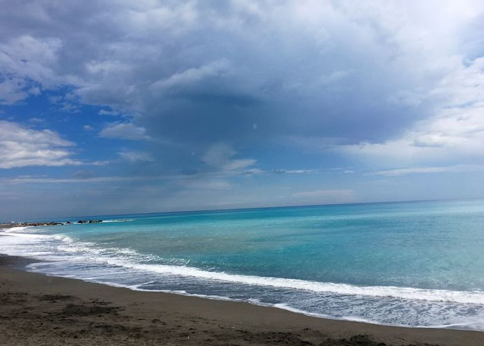 Beach Beauty In Nature Blue Calm Cloud Cloud - Sky Cloudy Coastline Day Horizon Over Water Idyllic Nature No People Non-urban Scene Outdoors Remote Scenics Sea Seascape Shore Sky Tranquil Scene Tranquility Water Wave