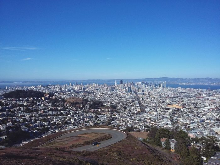 San Francisco as seen from Twin Peaks. · SF California CA United States Twinpeaks Vista Point From A Hill From A Hill Top American Cities Urban Landscape Urban Skyline Architecture Popular Spots Great Day