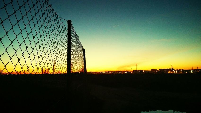 Fence Sunset Sky Silhouette Outdoors No People City Streetphotography Urban Creativity The City Light Madrid Lasuma Tranquility