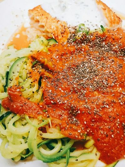 Zoodles Tomato Salmon - Seafood Healthy Eating Plate Vegetable Close-up Food And Drink