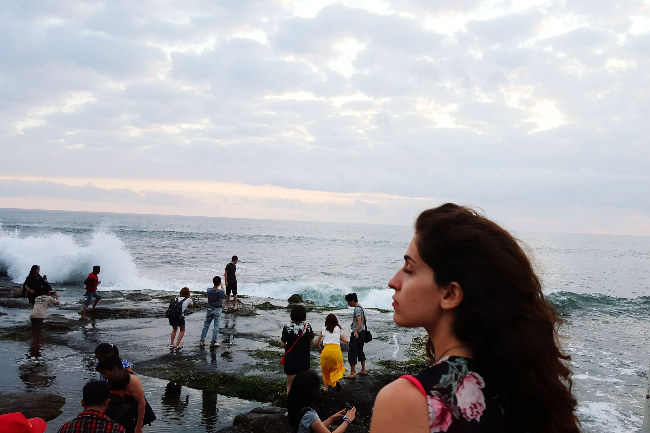 sea, water, lifestyles, leisure activity, horizon over water, beach, sky, vacations, enjoyment, shore, person, cloud - sky, togetherness, beauty in nature, nature, headshot, scenics, standing, weekend activities