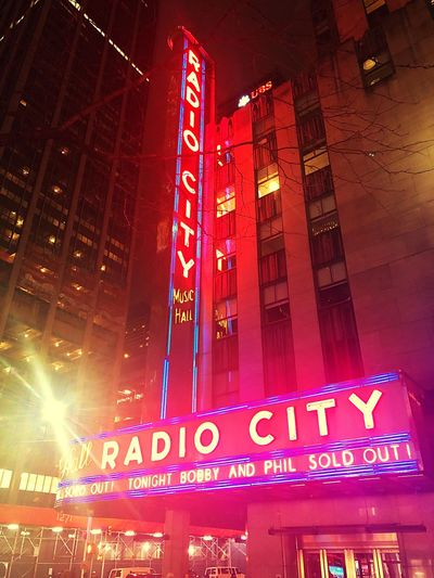 Got the ways & means... New York City Radio City Music Hall Grateful Dead Text Western Script Communication Illuminated Building Exterior Night Capital Letter Built Structure Architecture Neon Outdoors Nightlife