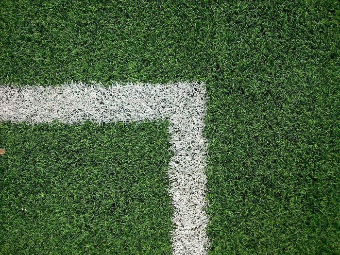 Close-Up Of Corner Marking At Rugby Field