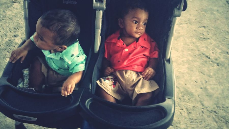 High angle view of cute brothers sitting in baby stroller
