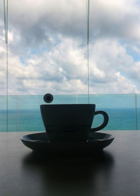 Good morning ☕ Cup Of Coffee Silhouette The Portraitist - 2018 EyeEm Awards View Sky And Clouds Sea Eyeemoninstagram EyeEm Of The Week The Creative - 2018 EyeEm Awards The Great Outdoors - 2018 EyeEm Awards Nature_collection Water Sea Coffee Cup Horizon Over Water Close-up Espresso Coffee Break Caffeine